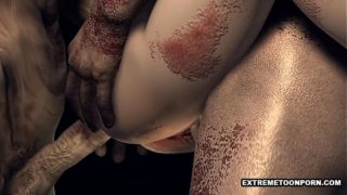 3D foxy babe gets a double teaming from zombies